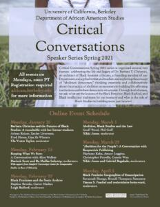 Critical Conversations 2021 Speaker Series poster